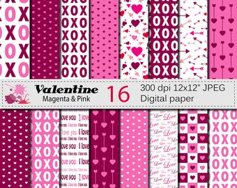 Valentine Digital Papers with Hearts and Arrows, Valentines Day Magenta and Pink Digital Scrapbook Paper, Love Papers Digital Download