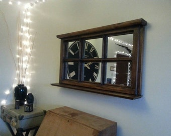 Window mirror made from upcycled wooden window frames