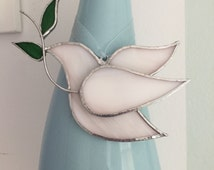 Stained Glass Peace Dove Wedding Decor or Holiday Accent - White, Cream, or Opaque White