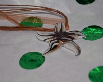 Glasswork Starfish Pendant on Organza Ribbon