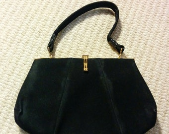 1960s Orlos Black Suede Handbag Gold Metal Clasp Good Condition