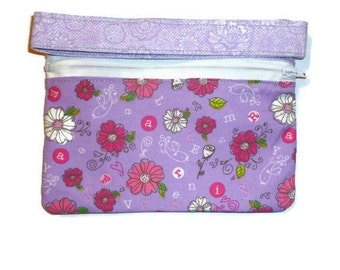 Purple Wristlet, Purple Purse, Sewn Purse, Purple Sewn Purse, Purple Sewn Wristlet