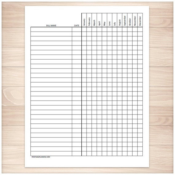 Printable Bill Payment Tracker Log - Paying Bills Checklist - Monthly ...