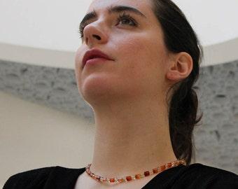 Rutile quartz necklace | Carnelian