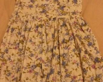 Cotton floral dress lace collar