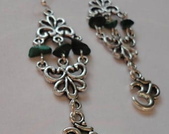 Handmade Earrings Om Aum Malachite Filigree Elegant Witch Magick Peace Green Pagan New Age Witchy Jewellery