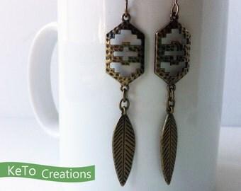 Metal Dangling Earrings, Hieroglyphic Style Earrings, Feather Dangling Earrings