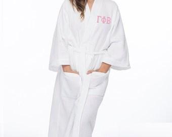 Gamma Phi Beta Waffle Weave Bath Robe, Gamma Phi Beta Waffle Weave Robe, Gamma Phi Beta Spa Robe, Pi Phi Dorm Robe