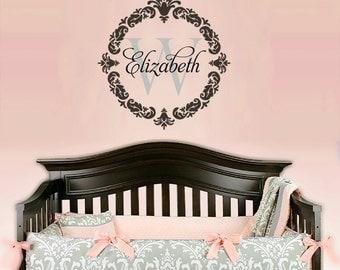 Damask Wall Decal,  Name Wall Decal, Baby Nursery Decals, Nursery Name Decal, Monogram Decals, Girl/Boy Name Decals, Nursery Wall Decals