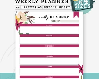 Floral Weekly Planner printable PDF, Printable weekly planner, Diy todo list, A5 refill A4/Letter, Personal Inserts, Instant Download