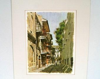 Don Davey Pirate Alley Lithograph Print French Quarter New Orleans Art Souvenir