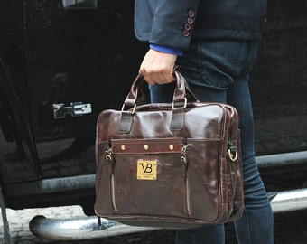 Mens Brown Leather Briefcase Laptop Bag