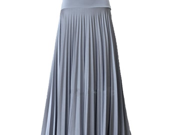 Silver Pearl Flare Jersey Pleated Maxi Skirt | Modest Long Skirt | Islamic Clothing XS S M L XL 2XL 3XL