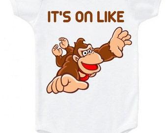IT'S ON LIKE Flying donkey kong graphic tee baby bodysuit onesie girl's boys unisex Mario bros t shirt top clothes Nintendo