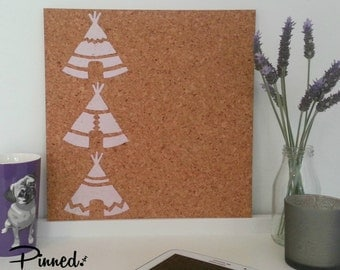Teepee design pinboard, hand painted cork board, memo board, bulletin board, girls bedroom