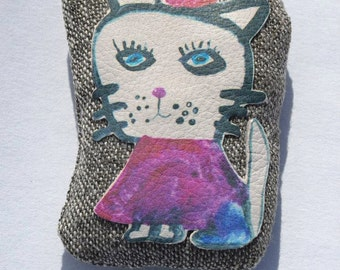 Cat Brooch, textile brooch, FREE SHIPPING!