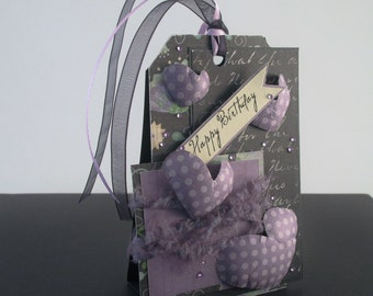 Purple Happy Birthday Standing Tag Gift Card Holder
