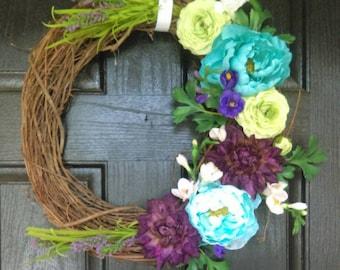 Summer floral wreath, peonie wreath, spring wreath, floral door wreath