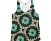 Nature Inspired Mandala Print Shirt. Aquamarine and Forest Green Yoga Tank Top. Mandala Print Tank. Festival Clothes