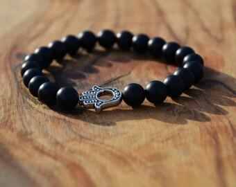 Matte Black Onyx with Silver Hand Charm - 8mm Genuine Semi Precious Stone Bracelet