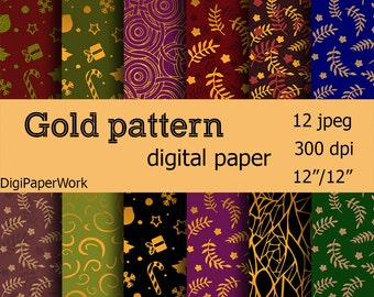 Christmas Digital Paper Gold patterns paper Instant download Gold patterns background for Personal and Commercial Use