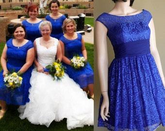 Blue Lace Bridesmaid dress, Regular, Petite & Plus size available