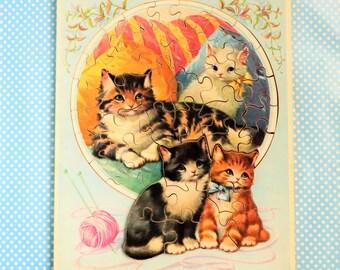 Wooden cat jigsaw puzzle by G.J Hayter Ltd.