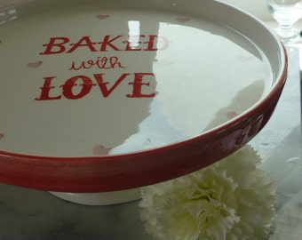 """11.5"""" """"Baked with Love"""" peach & white ceramic cake stand with hearts, wedding, centre piece, top table, wedding gift, wedding cake stand"""