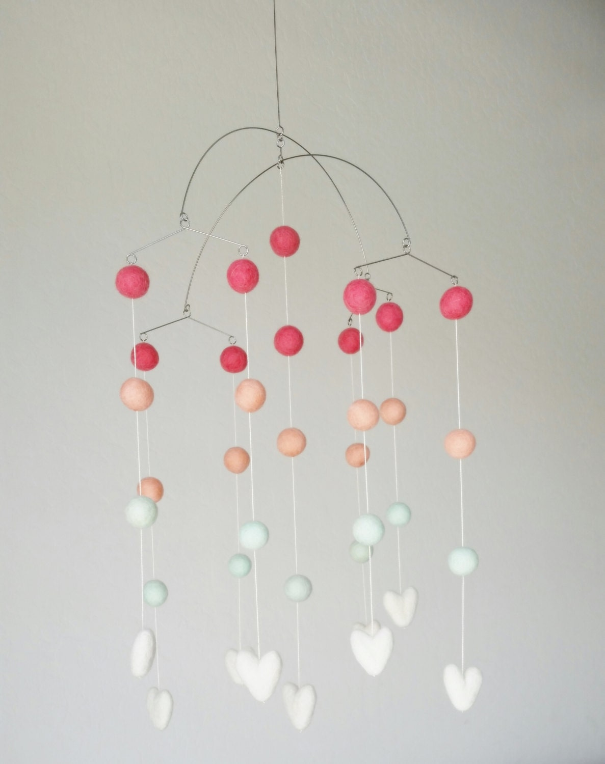 baby mobile  modern mobile in coral and mint -