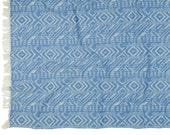Large Argyle Beach Towel | Blue Geometric Beach Blanket | Tribal Ikat Organic Cotton Bath Sheet | Turkish Towel Peshtemal #EtsyGifts