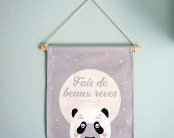 """FANION """"Fais de beaux rêves"""" panda endormi, décoration mur chambre enfant"""