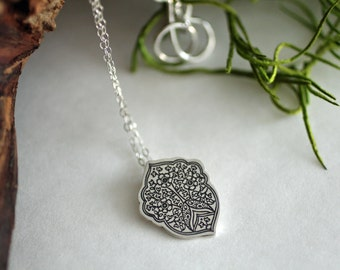 Moroccan pendant - Morocco pendant - Etched sterling silver pendant
