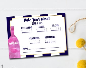 Wine Tasting Party - Rate Your Wine - Wine Rating - Wine Bridal Shower Game - Wine Tasting Score Card -