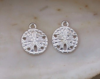 10/20/50 PCS Bright Silver Plated Sand Dollar Charms - 19x15mm Cadmium and Lead Free