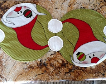 Modern Santa Holiday Christmas Quilted Table Runner Table Topper