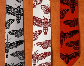 Moth Art Tie - Men's SILK Tie - Moth Print - Butterflies and Moths - Insect Art - Silk Necktie - Gift for Boss