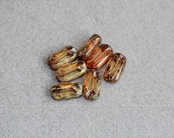 Flat Rectangle Bead 16x8mm, Translucent Glass Picasso Finish Table Cut Stone Brown Glass Beads, Jewelry Making, DIY Craft Supplies