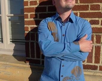 Men's Dress Shirt with Custom Silkscreen: LARGE