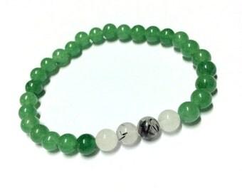 Genuine Jade, Tourmalinated Quartz Yoga Mala Bracelet - Natural Spirited Stones Bracelet-Healing Stones Bracelet-Stretch Bracelet - Handmade