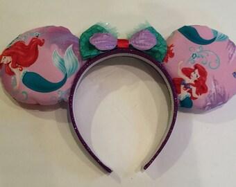 Disney's The Little Mermaid inspired Ariel ears. Handmade custom Mickey ears