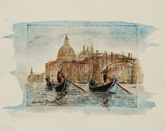 Grand Canal in Venice, original painting gondolas on the lagoon, Gondoliers, watercolor and etching, romantic walk
