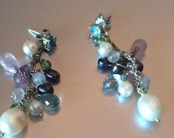 earrings, silver and semi precious gemstones