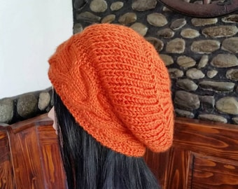 Women Orange Cable Knit hat-Winter Cable knit Hat,Oversized Cable Hat,Women Winter Fashion,,Christmas gifts for her, Orange Slouchy hat