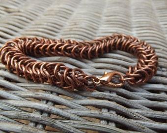 Men copper bracelet, copper tribal woven chain, women men copper bracelet, chain copper bracelet, indian men bracelet, men cuff bangle