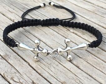 Double Cross Bracelet, Cross Anklet , Adjustable Cord Macrame Friendship Bracelet, Cross Jewelry, Macrame Jewelry,