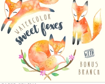 Watercolor Foxes Clipart | Baby Woodland Animals - Fox and Flowers Nursery Art - Digital Scrapbooking - Baby Shower - Instant Download PNG