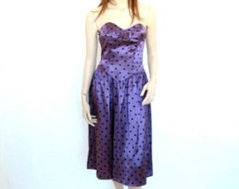 Early 1960's Silk Polka Dot Party Dress
