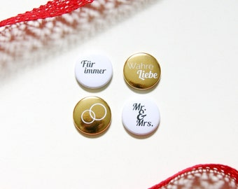 "Button set ""Mr. & Mrs."", set of 4, gold"