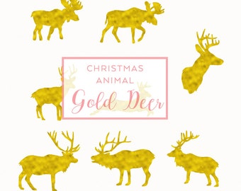 Digital Download Gold Foil, Christmas Clip Art, Handmade Holiday Clip Art, commercial use PNG, Gold Foil reindeer overlay, Holiday graphics