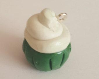 green and white cupcake